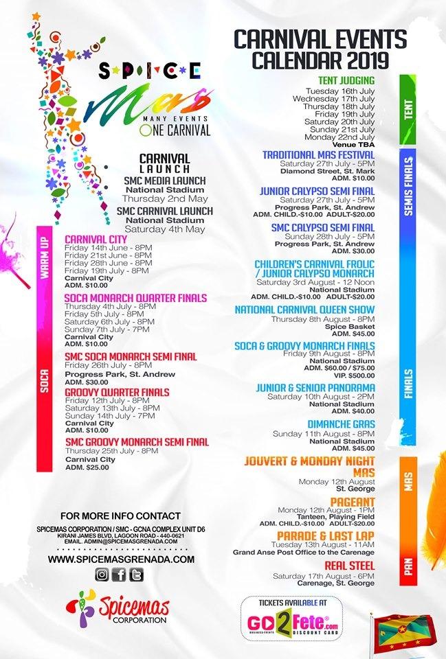 Smc Calendar 2019 Partygrenada.| SMC Carnival Events Calendar 2019